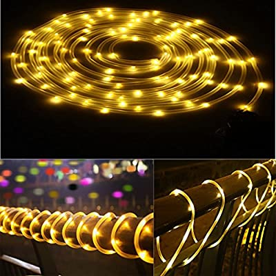 Waterproof Flexible LED Solar Rope Lights Outdoor Christmas Starry Decor String Light Lamp for Garden Pool Tree Patio Wedding Holiday,100 LEDs Light Sensor