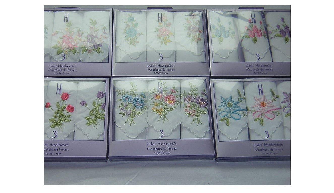 FUM Tools Ladies 3 Embroidered Handkerchiefs Boxed Cotton Hankies White Multi Coloured D