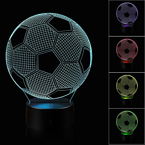 3D Illusion Soccer Night Light Lamp with 7 Color change, touch base, power by AA batteries