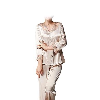 75cababdc33e Amazon.com  Chiced 3 4 Sleeve Women Pajama Set New Faux Silk Lace Lady  Pajamas Female Pijamas 2 Pcs Silky Sleep Lounge Woman  Clothing