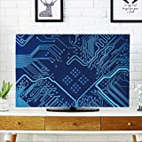 PRUNUS tv Protective Cover Abstract Blue Computer Circuit Board Close up for Background. tv Protective Cover W36 x H60 INCH/TV 65''