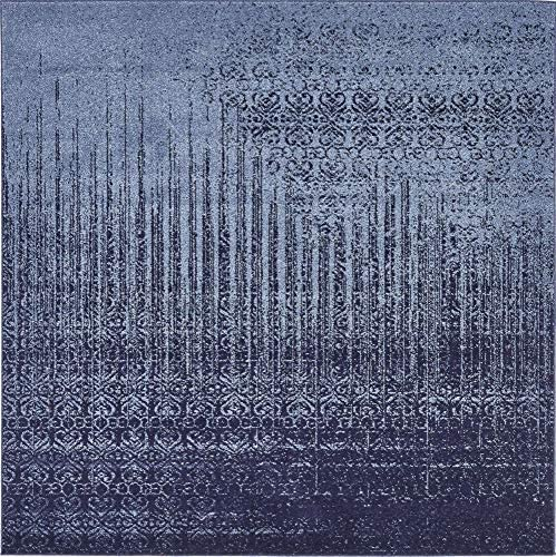 Unique Loom Del Mar Collection Contemporary Transitional Blue Square Rug 6 0 x 6 0