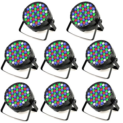 8 Pcs 54 x 3W Stage Light LED Par Light RGBW DJ Auto & Sound-Activated DMX 512 Controll Stage Lighting for Home Wedding Party Church Concert Dance Floor Lighting