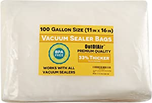 "100 Vacuum Sealer Bags: Gallon Size (11"" x 16"") for Foodsaver 33% Thicker, BPA Free, FDA Approved"