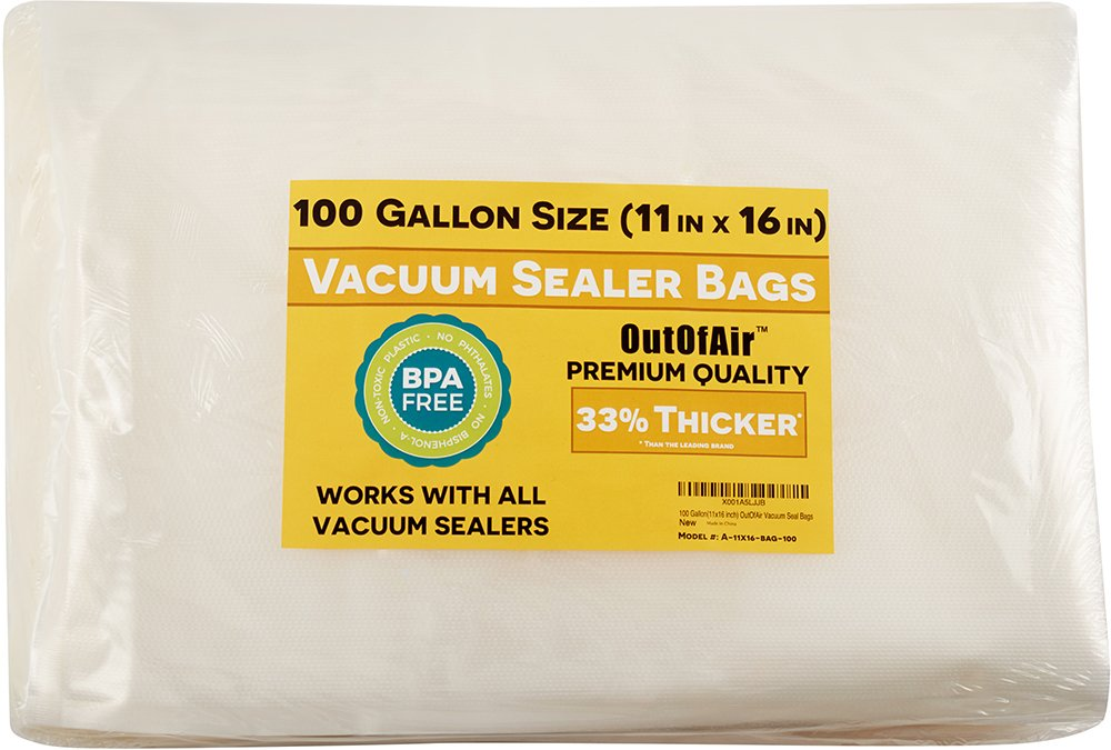 100 Vacuum Sealer Bags: Gallon Size (11'' x 16'') for Foodsaver 33% Thicker, BPA Free, FDA Approved by OutOfAir