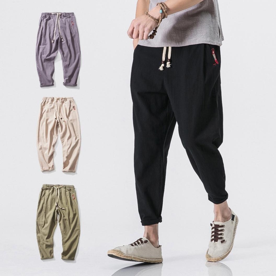 PASATO Mens Casual Slim Sports Pants Ankle-Length Linen Trousers Baggy Harem Pants Trousers