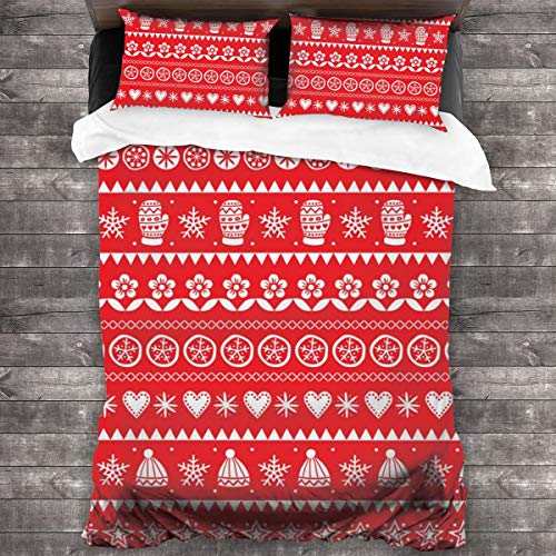 Eventsets Winter Folk Art Christmas Bedding Sets Duvet Quilt Cover Set with 2 Decorative Pillowcases, with Zipper Closure Ties, 3 Pieces