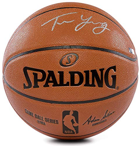 Silver Basketball Signature (TRAE YOUNG Autographed (Silver) Atlanta Hawks Spalding Basketball PANINI)