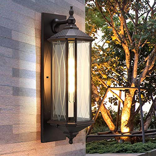 ZSAIMD Vintage Outdoor Wall Lamp Creative Cast Aluminum Housing with Glass Shade Wall Light Exterior Wall Lantern 1-Light E27 Edison Wall Sconce Front Porch Yard Garage Decoration (Size : XL) (X-large Outdoor Wall Fixture)