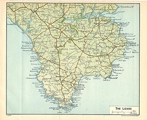 - Lizard Point Cornwall England 1924 color lithograph regional map
