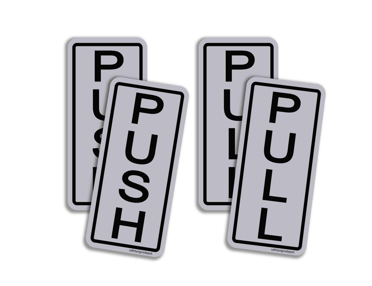 Adhesive Vinyl Decals UV Laminated for Business 3 Push Pull Door Sticker Signs Vertical 2 x 5 Pack of 3 Store and Office