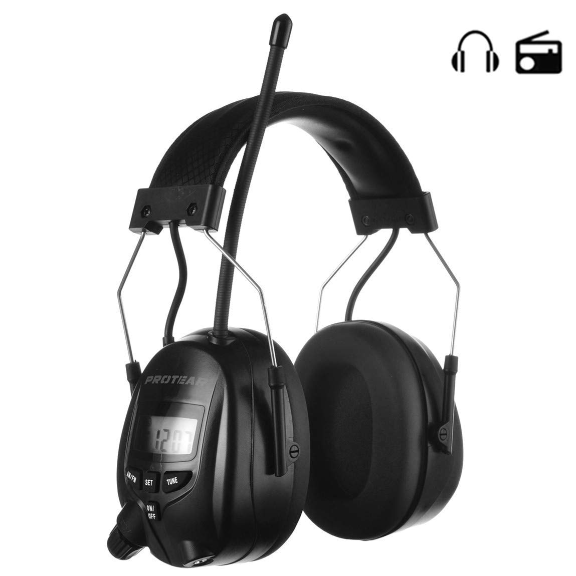 PROTEAR Digital Radio AM FM Headphones, Noise Reduction Safety Earmuffs Compatible with MP3-NRR 25dB, Hearing Protection Ear Protector for Mowing Lawn(Black) by PROTEAR