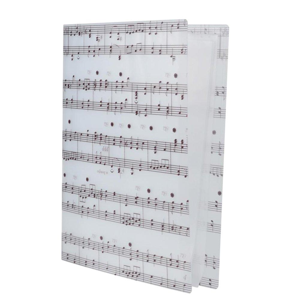 Homyl Waterproof Music Score Folder Document Storage Holder Picture of 5 Line Spectrum White