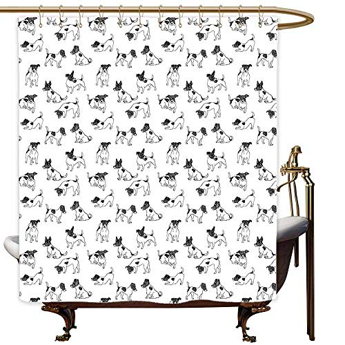 MaryMunger Bathroom Shower Curtain Dog Lover Sketch Style Hand Drawn Jack Russell Terrier Doodles in Various Stances Purebred Waterproof Colorful Funny W94x72L Black White (Jack Russell Terrier For Sale In Ny)