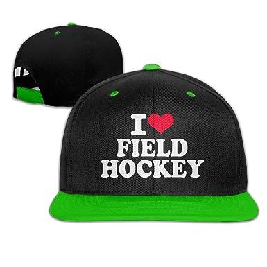 Mens Womens Hip-hop Hats I Love Field Hockey Adjustable Custom Cap ... e8b961c3daf