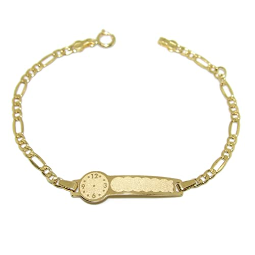 299f21afe650 Never Say Never Pulsera para bebé de Oro Amarillo de 18Ktes con Placa y  Reloj para Grabar. 14cm  Amazon.es  Joyería
