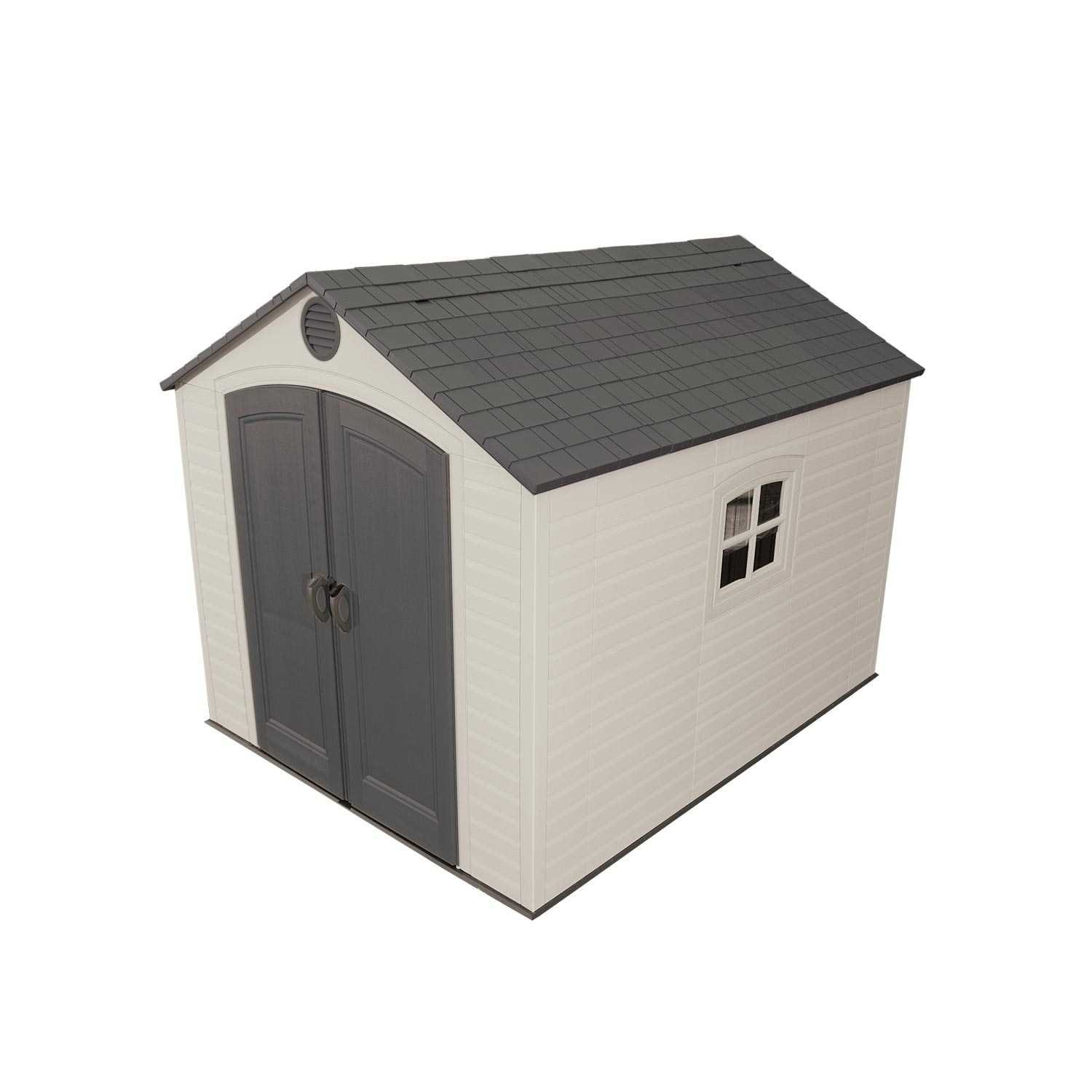 amazoncom lifetime 6405 outdoor storage shed with window skylights and shelving 8 by 10 feet garden shed garden outdoor