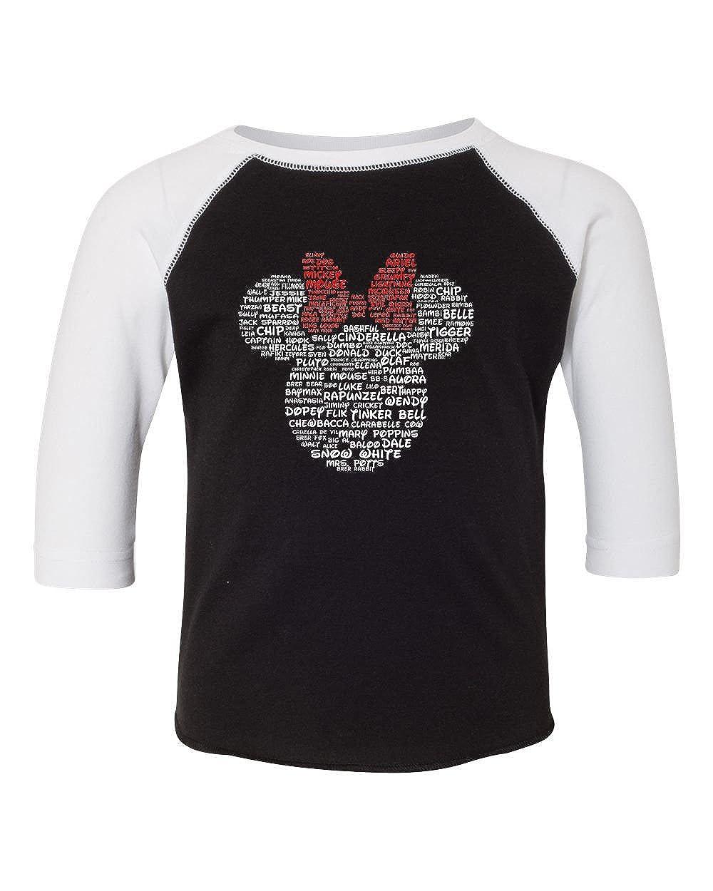 b89d979fa Amazon.com: Minnie Mouse Disney Adult Women and Ladies Character Name T- Shirt, Tank, Hoodie, Long Sleeve (Black/White Sleeve Raglan, 2T - Prime):  Clothing
