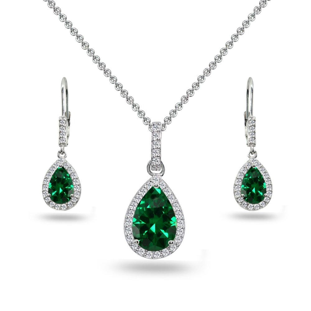 Sterling Silver Simulated Emerald & White Topaz Teardrop Halo Dangling Necklace & Leverback Earrings