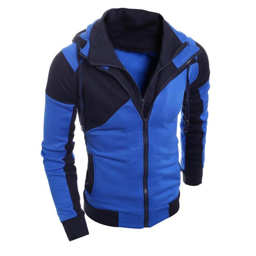 Sinzelimin Winter Autumn Men Retro Long Sleeve Sweatshirt Coat Outwear Bomber Jacket Motorcycle Jacket with Hood (Blue, L)