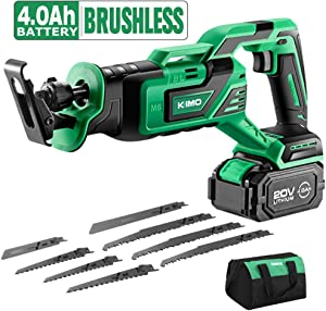 """KIMO 20V 4.0Ah Li-ion Brushless Cordless Reciprocating Saw w/Battery & 1 Hour Fast Charger, Stepless Variable Speed, 1"""" Stroke Length, Tool-Free Blade Change, 8 Saw Blades for Wood & Metal Cutting"""