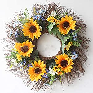 HEBE Wreath, Artificial Wreath for The Front Door Indoor Wedding Wall Home Decor Floral Fake Flower Wreath with Green Leaves 109