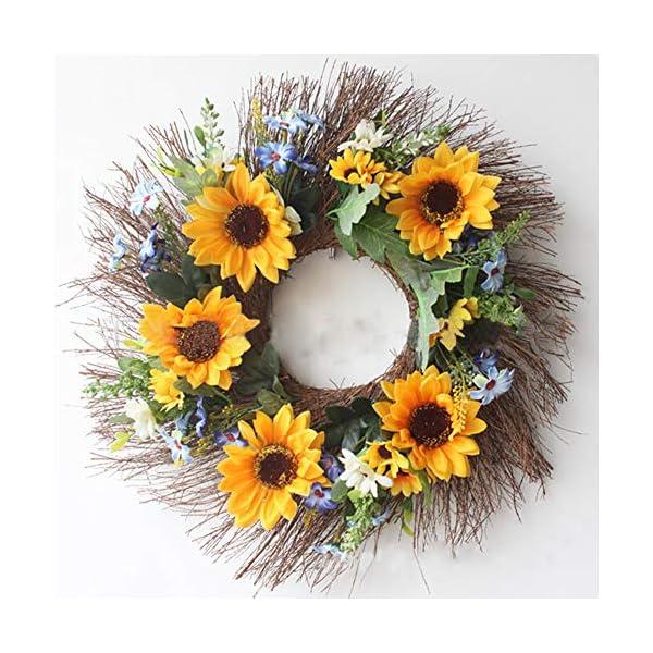 HEBE 16 Inch Artificial Sunflower Door Wreath Fake Floral Yellow Sunflower Wreath for Front Door Indoor Outdoor Wall Wedding KitchenDécor All Seasons
