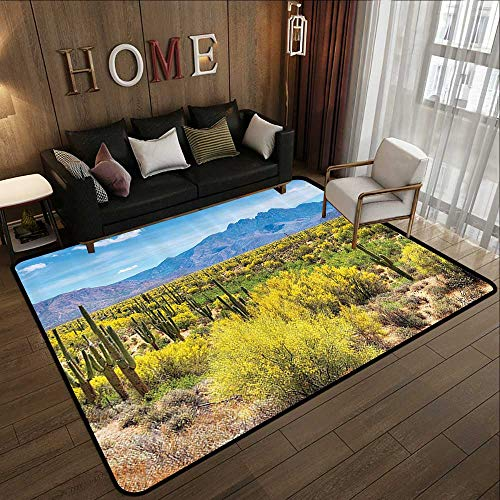 Palo Collection - Bathroom mats and Rugs,Saguaro Cactus Decor Collection,Blooming Palo Verdes and Saguaros at Four Peaks Foothills Near Phoenix Arizona Image,Blu 35