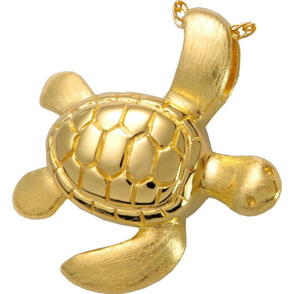 Memorial Gallery 3208gp Sea Turtle 14K Gold/Sterling Silver Plating Cremation Pet Jewelry