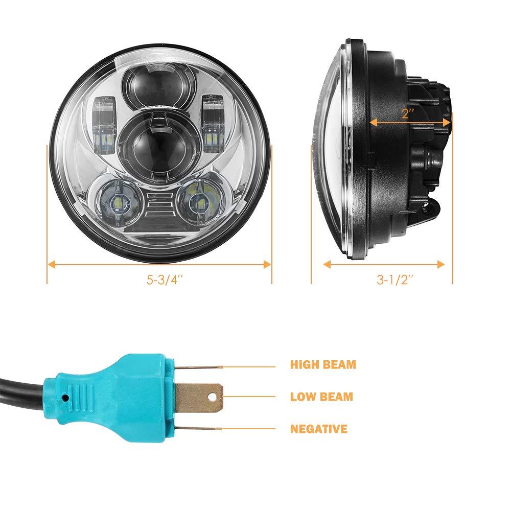Silver Auxbeam 5.75 Round LED Headlight Hi-Lo Beam Bulb for Harley Davidson Dyna Motorcycle