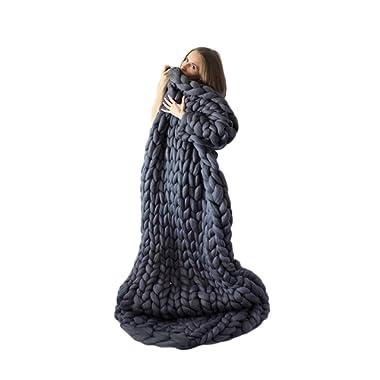 incarpo Chunky Knit Blanket Handwoven Wool Yarn Knitting Throw Bed Sofa Super Warm Home Decor Dark Grey 47 x71