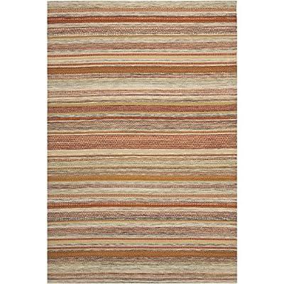 Safavieh Striped Kilim Collection STK311A Hand Woven Beige Premium Wool Area Rug (6' x 9')