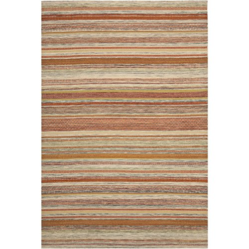 (Safavieh Striped Kilim Collection STK311A Hand Woven Beige Premium Wool Area Rug (8' x 10'))