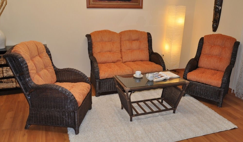 Rattangarnitur , Rattangruppe Jenny Rattan Ohrensessel , Fb. darkbrown , Polster orange