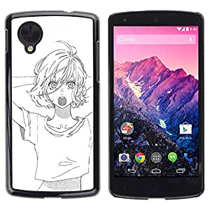 GOODTHINGS Funda Imagen Diseño Carcasa Tapa Trasera Negro Cover Skin Case para LG Google Nexus 5 D820 D821 - blanco bosquejo animado negro chica asiática