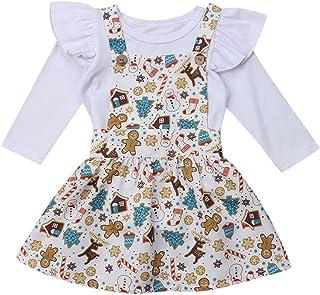 Jimmackey Neonata Bambine Solido Pagliaccetto Balze Tutine Body + Fumetto Cervi Pupazzo di Neve Bretelle Tutu Gonna Vestiti