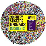 80 Different Sheets Kids & Toddlers Puffy Sticker Mega Variety Pack by Purple Ladybug Novelty - 2000+ 3D Puffy Stickers for Kids - Including Animals , Smiley Faces , Cars , Stars and More!