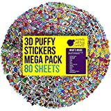 80 Different Sheets Kids & Toddlers Puffy Sticker Mega Variety Pack by Purple Ladybug Novelty, 2000+ 3D Puffy Stickers for Kids, Including Animals, Smiley Faces, Cars, Letters, Stars and Tons More!