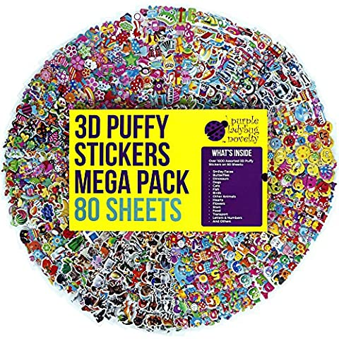 80 Different Sheets Kids & Toddlers Puffy Sticker Mega Variety Pack by Purple Ladybug Novelty, 2000+ 3D Puffy Stickers for Kids, Including Animals, Smiley Faces, Cars, Letters, Stars and Tons (A Sticker)