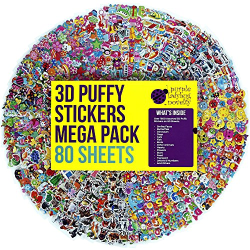 80 Different Sheets Kids & Toddlers Puffy Sticker Mega Variety Pack by Purple Ladybug Novelty, 2000+ 3D Puffy Stickers for Kids, Including Animals, Smiley Faces, Cars, Letters, Stars and Tons More! (Is Big Bird A Boy Or Girl)