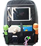 Misslo Car Back Seat Organiser Multi-Pocket Travel Storage With Touch Screen iPad Holder (Black)