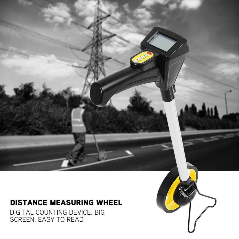 Misuratore di distanza a ruota,Ruota di misurazione delle distanze,Pieghevole,Display digitale,Giallo,160mm