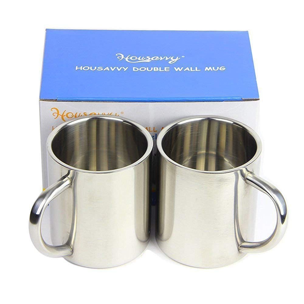 Housavvy 2 Piece Kid's Water Mugs, Stainless Steel Drinking Cups for Children, Double Wall Food Grade Durable Safe by Housavvy