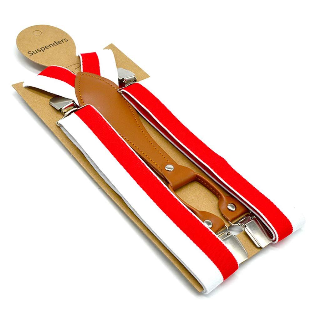 SupSuspen Mens Y Back Mixcolored Striped Suspenders Heavy Duty Braces /& 4 Clips