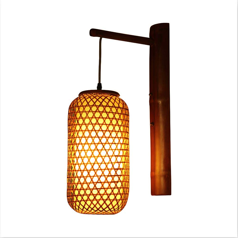Ladiqi Industrial Vintage Wall Sconce Lighting Fixture Retro Wall Lamp Creative Bamboo Chinese Wall Lantern for Kitchen Living Room Bar Restaurant
