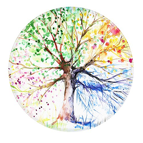 Non Slip Circular Mat (LEEVAN Art Deco Pattern Non-Slip Backing Machine Washable Round Area Rug Foam Mat Living Room Bedroom Study Children Playroom Super Soft Carpet Floor Mat Home Decor 3-Feet Diameter, Four Season Tree)