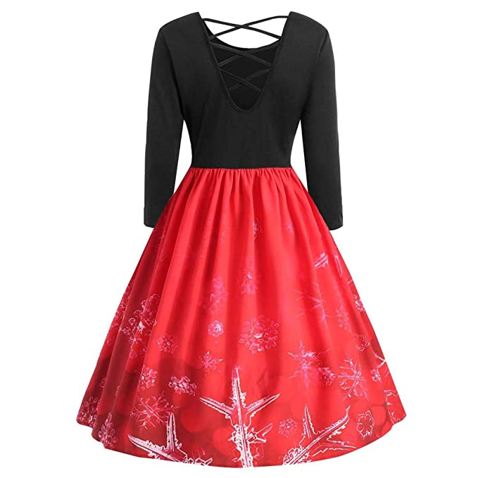 Women Christmas Print A-Line Dress Long Sleeve Criss Cross Party Swing Vintage Dress at Amazon Womens Clothing store: