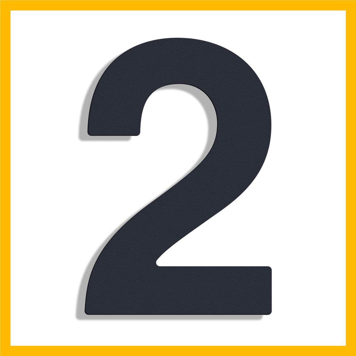 20cm Design Edelstahl Hausnummer, RAL 7016 anthrazit beschichtet, inkl. Montagematerial/H: 200mm (Ziffer'2') inkl. Montagematerial/H: 200mm (Ziffer2) Thorwa® Design