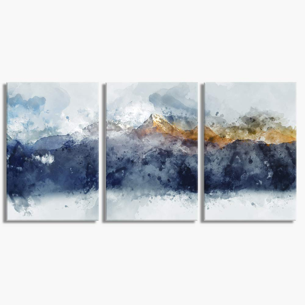 Abstract Canvas Wall Art for Living Room Modern Navy Blue Abstract Mountains Print Poster Picture Artworks for Bedroom Bathroom Kitchen Wall Decor 3 Pieces Framed Ready to Hang