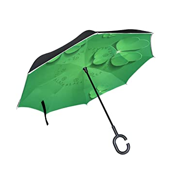 jstel doble capa puede 3d verde trébol San Patricio Día paraguas coches Reverse resistente al viento